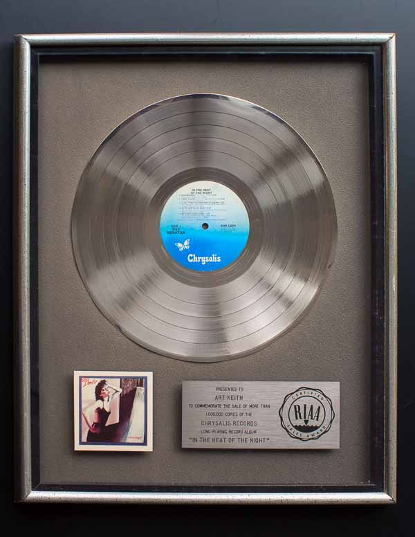 Pat Benatar RIAA Platinum Record Award In The Heat Of The Night