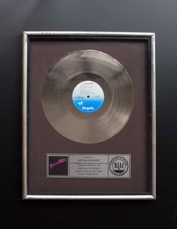 Pat Benatar RIAA Platinum Record Award Live From Earth