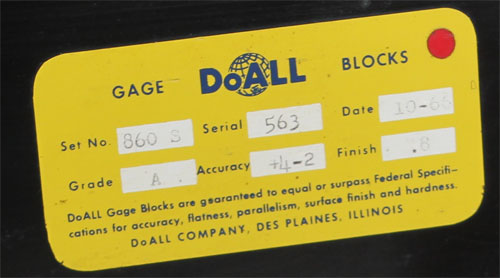 DoAll Gage Block Set - Jo-Blocks