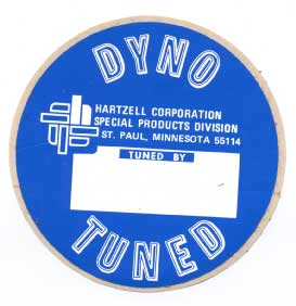Hartzell Corporation Dyno Tuned sticker vintage